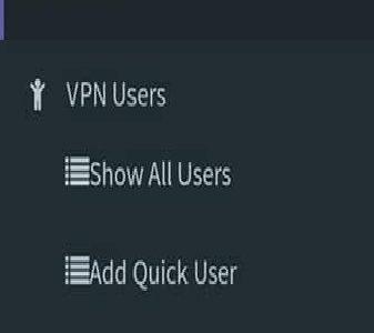 VPN admin panel details